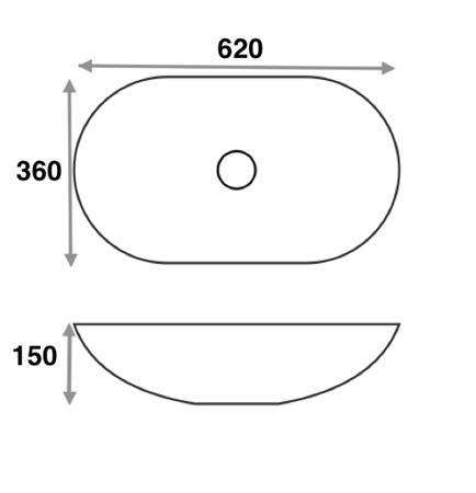 Раковина накладная Mira MR-6236B (620х360х150 мм.) - фото 5153