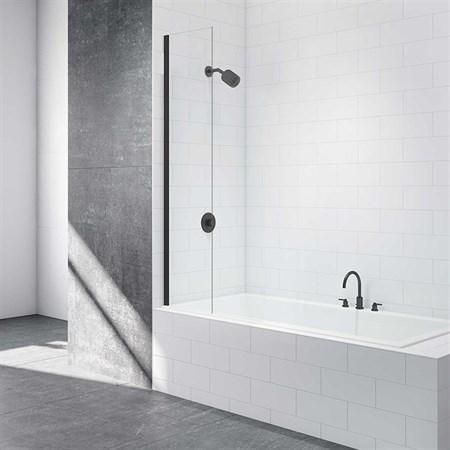 Шторка для ванной стеклянная Mira Glass 400BB, универсальная, черный профиль - фото 7094