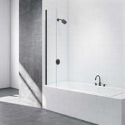 Шторка для ванной стеклянная Mira Glass 300BB, универсальная, черный профиль