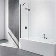 Шторка для ванной стеклянная Mira Glass 500BB, универсальная, черный профиль