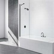 Шторка для ванной стеклянная Mira Glass 600BB, универсальная, черный профиль